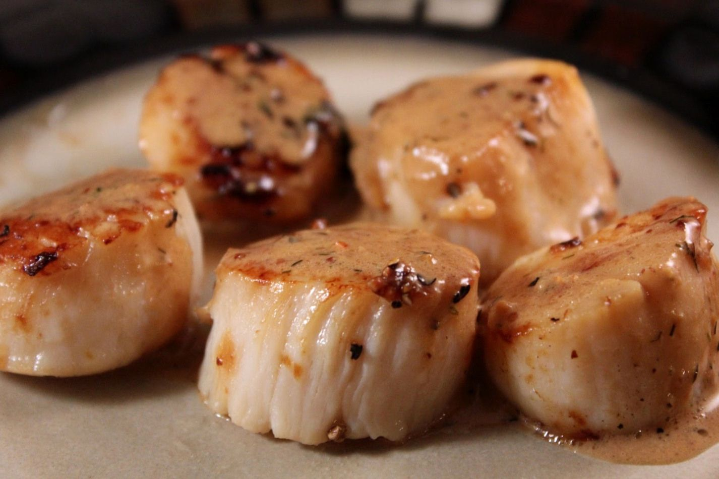 Sea Scallops Covered in a Tarragon Cream Sauce with a Touch of Pernod