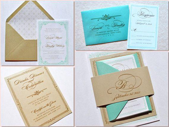 Wedding Invitations Tiffany Blue: Tiffany Blue And Gold Wedding Invitations Von