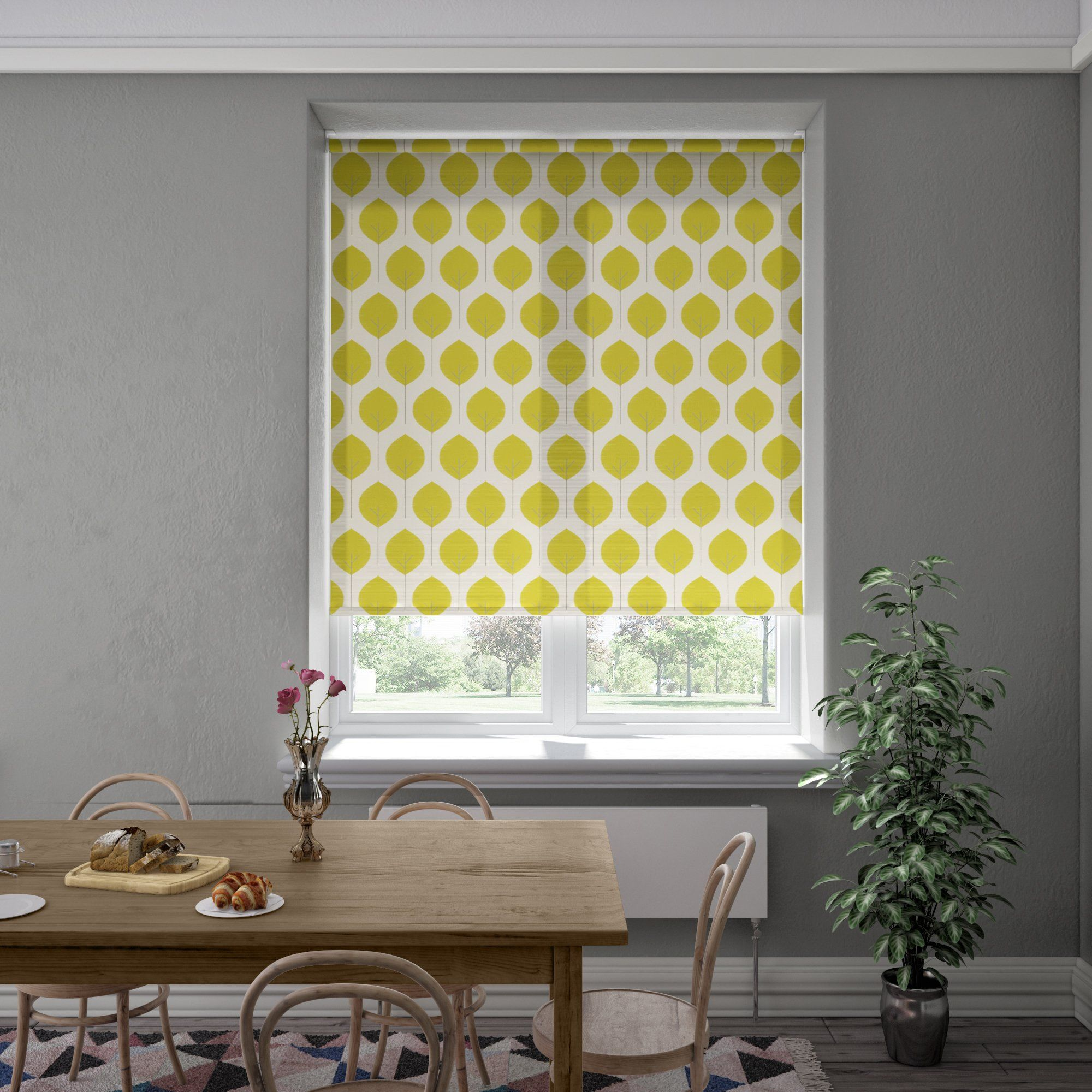 The Abaca Roller Blind is part of the dim out range of made to measure blinds, diffusing some light. This contemporary style blind is set on a lovely off-white background with a lovely tree design, creating a calm and relaxing feel to the window of your choice.