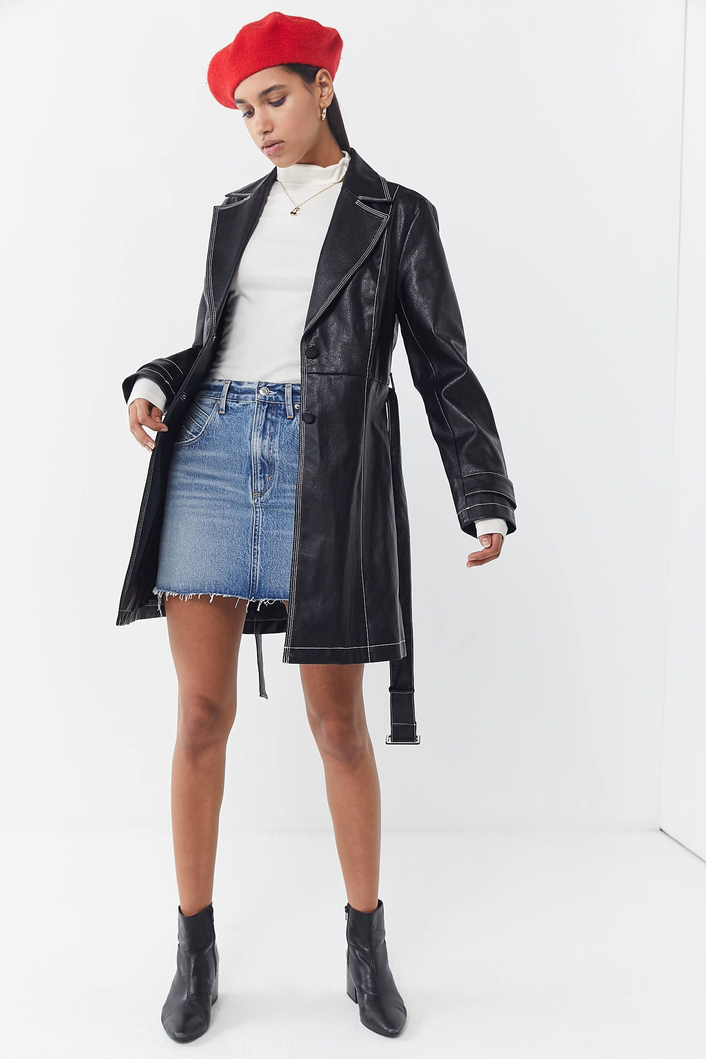 UO Irina Faux Leather Trench Coat Leather coat outfit