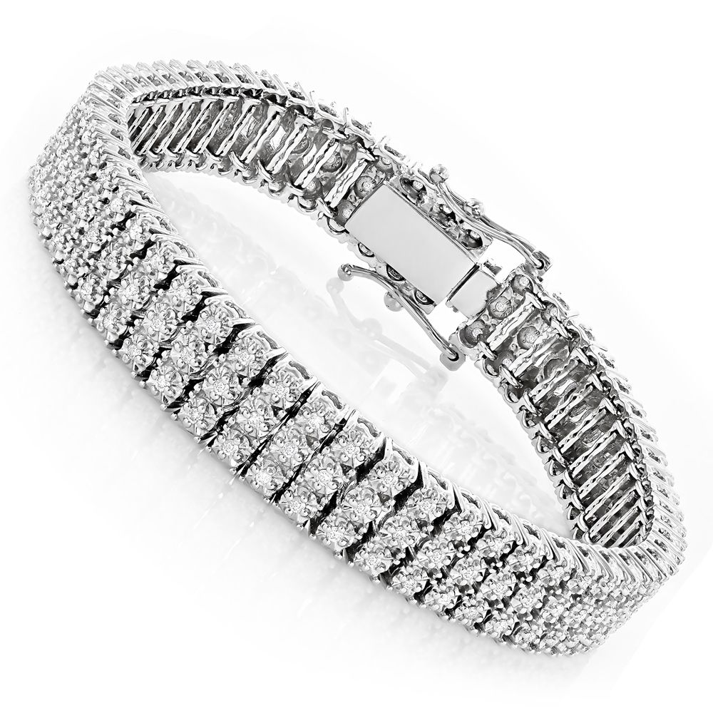 10k 3 Row Prong Diamond Toni Tennis Bracelet 1 85ct 73 Off Mens Diamond Jewelry Bracelets For Men Black Diamond Bracelet