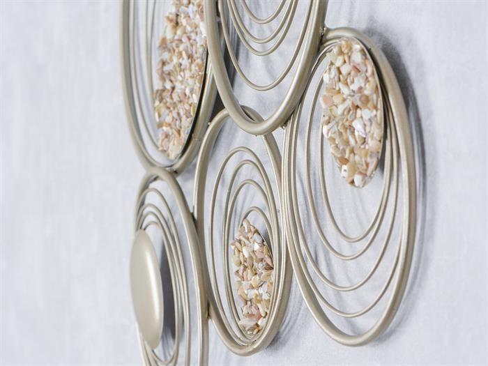 WAND-DEKO - Sahara II aus Metall mit Steinen Breite 52cm Höhe 42cm - wohnzimmer deko gold
