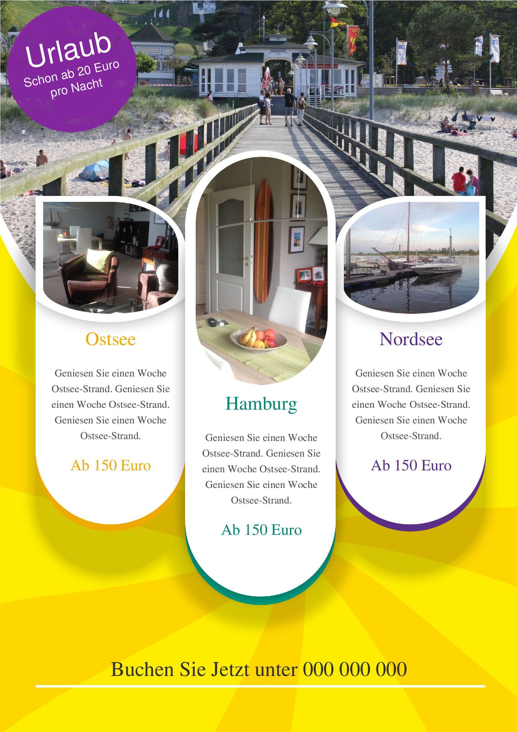 Mit diesem Flyer bzw. Handzettel bewerben Sie Ihr Urlaubs-Angebot ...