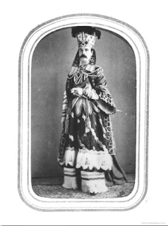 Calling card of designer Charles Worth in Costume. Englishman Charles Frederick Worth (1825-1895) virtually invented the idea of the Parisian couturier and selling dresses to the upper classes of Europe and America as well as French clientele.