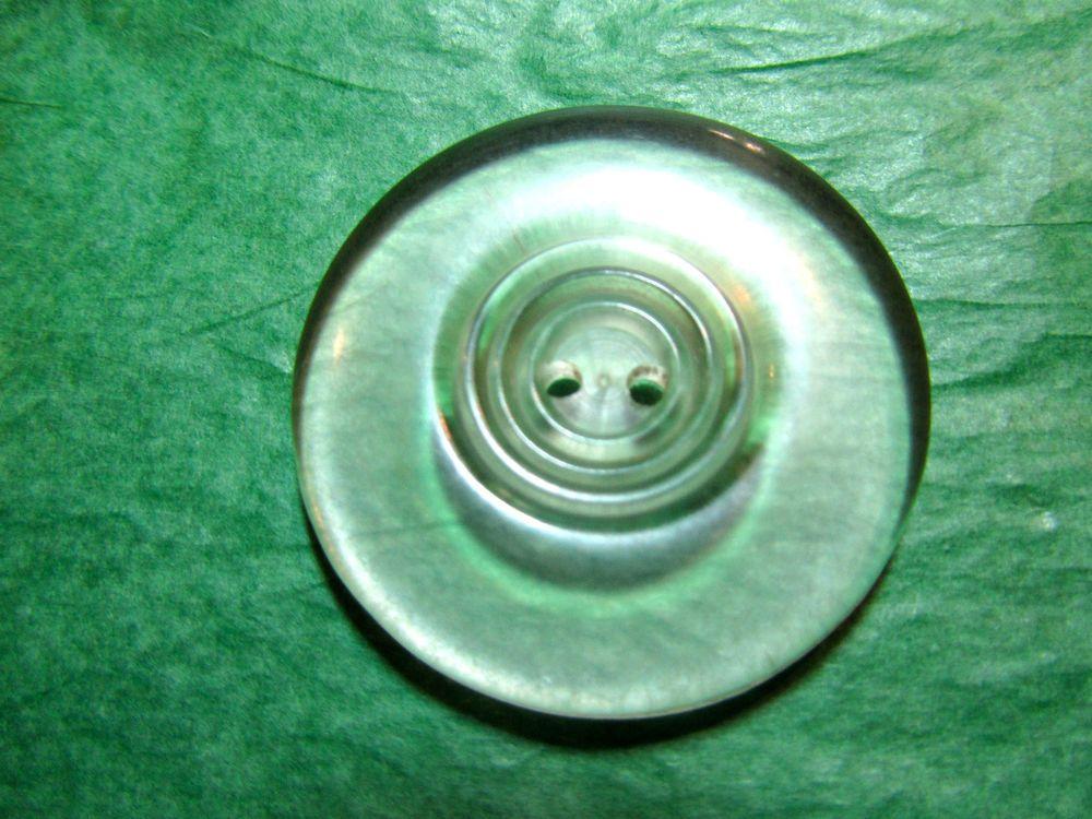 """1 - 1 & 1/2"""" DECORATIVE CLEAR PLASTIC 2-HOLE COAT BUTTON - VINTAGE Lot#CA181"""