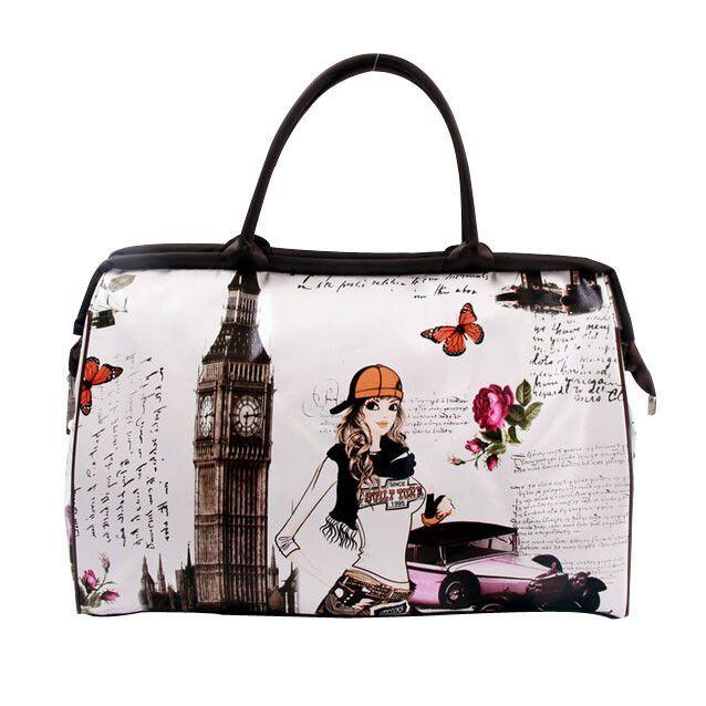 Print Travel Bag Women Handbag 2016 New PU Ladies Luggage Waterproof Women Travel Bags Large Capacity Bag For Female