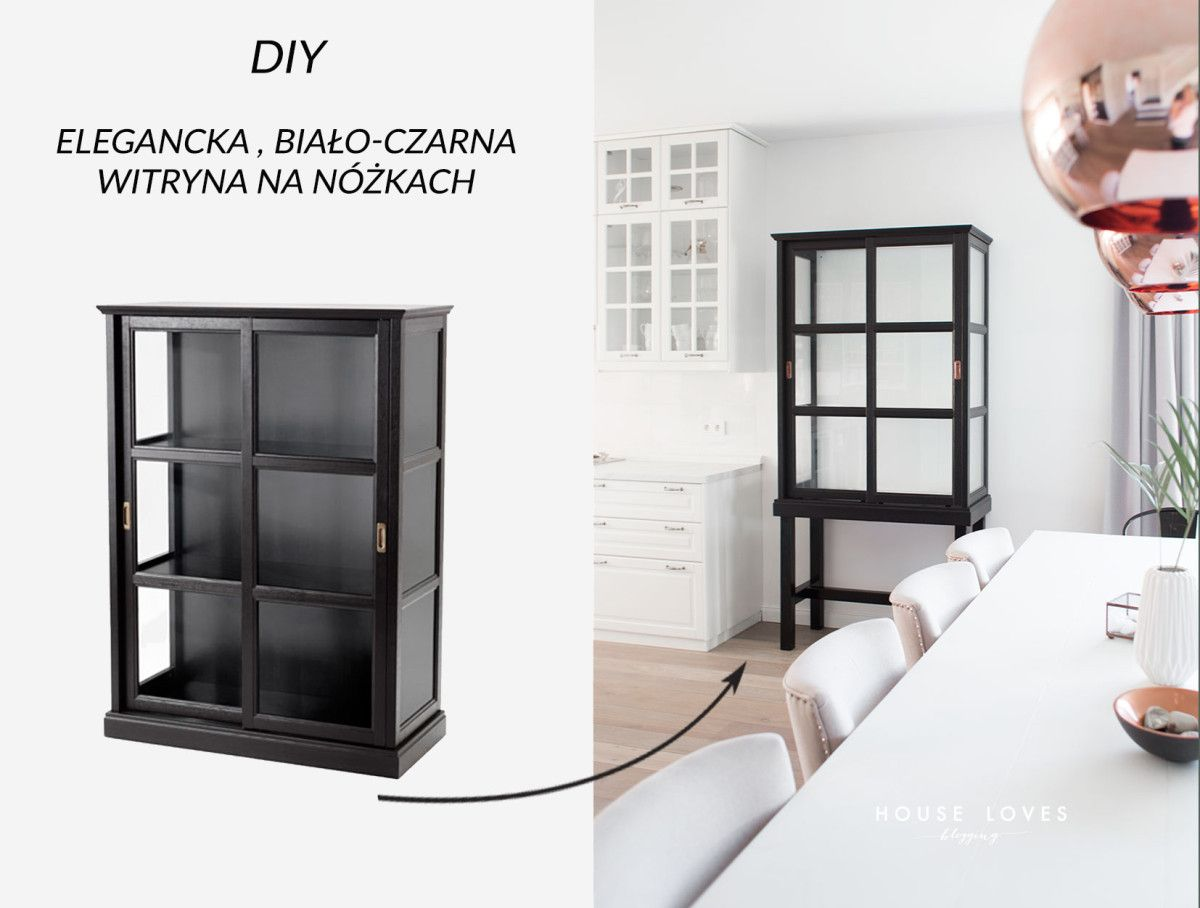 I Came Up With A Hack On The IKEA MALSJO Cabinet Turning It Into A Tall  Glass Cabinet, Elegant, Black And White Piece On Legs. Perfect!