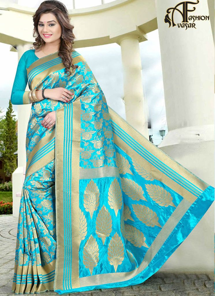 7e98ee8519 Jacquard Silk sarees online shopping – blue buy indian party wear sarees  low price
