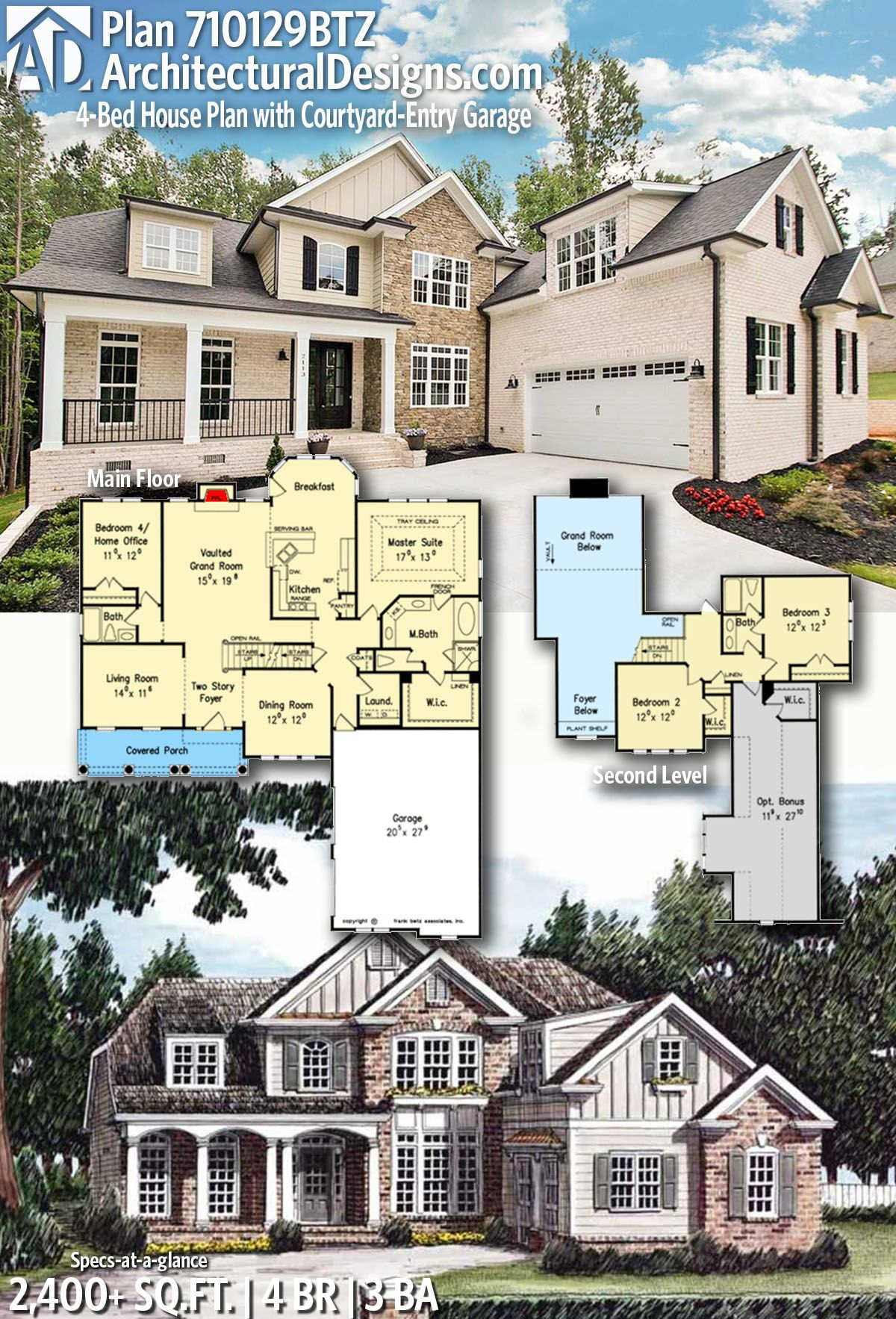 Plan 710129BTZ: 4-Bed House Plan with Courtyard-Entry Garage | Courtyard  house plans, Garage house plans, House plans