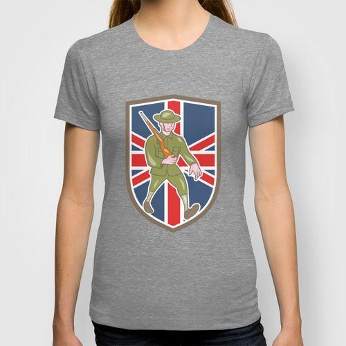 World War One Soldier British Marching Cartoon Shield T-shirt