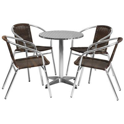 Ebern Designs Koa Round Indoor Outdoor 5 Piece Bar Height Dining Set Wayfair Outdoor Table Settings Rattan Chair Patio Dining Set