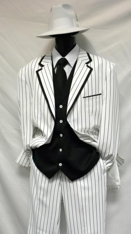 Beautiful Men's Vested White & Bold Black Pinstripe Gangster Zoot ...
