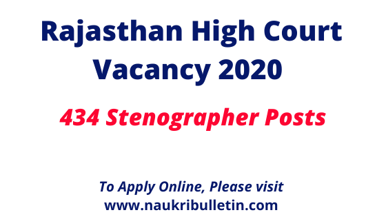 Rajasthan High Court Vacancy 2020 Notification Released For 434 Stenographer Posts In 2020 Typing Jobs Stenographer Court Jobs