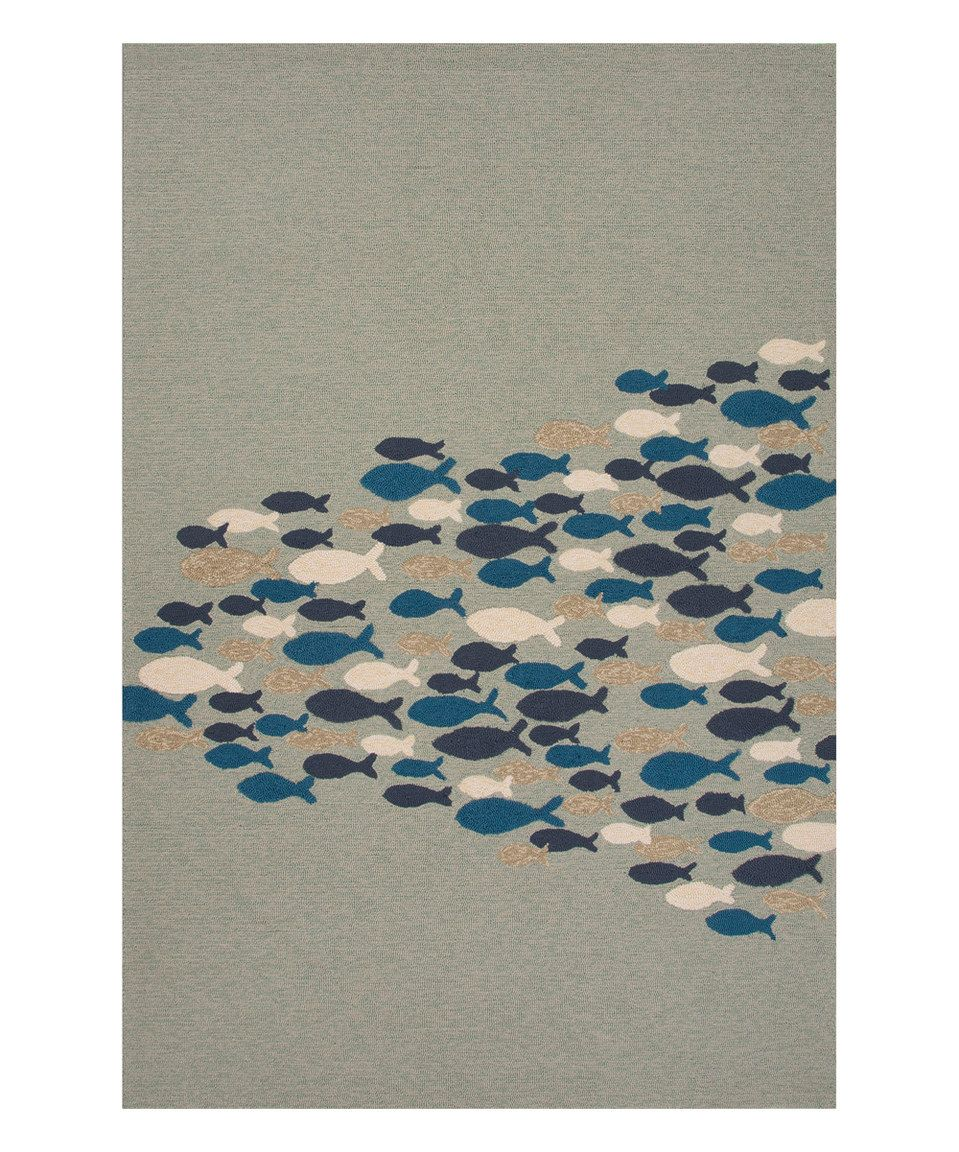 Love this Blue & Gray Fish Indoor/Outdoor Rug by Jaipur Rugs on #zulily! #zulilyfinds