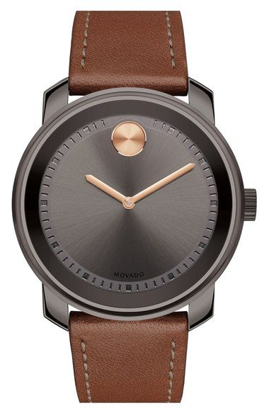 Movado 'Bold' Leather Strap Watch, 43mm available at #Nordstrom