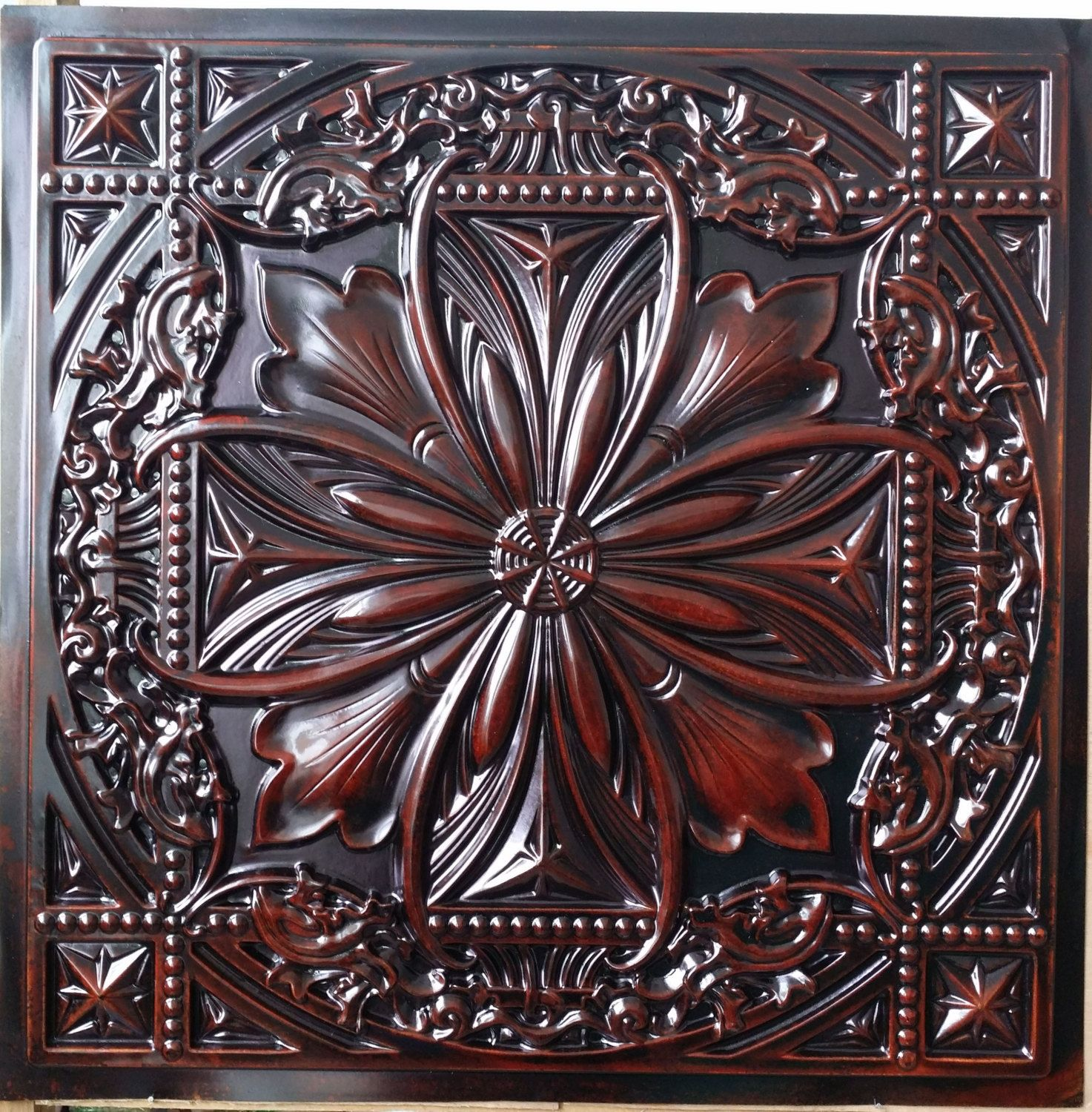 pl10 faux tin finishes aged red cameo ceiling tiles interior wall