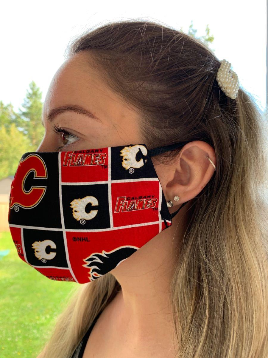 Calgary Flames face mask in 2020 Calgary flames, Cotton