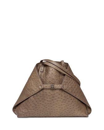 5d70307c5c13 Ai Small Metallic Ostrich Shoulder Tote Bag by Akris at Bergdorf Goodman.