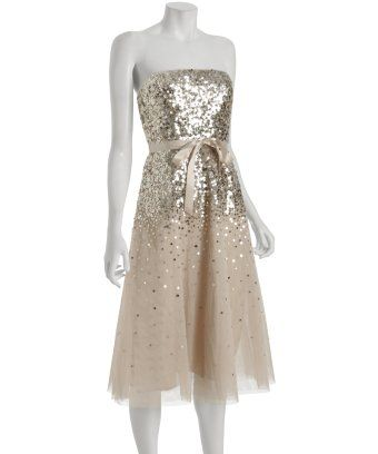 BCBGMAXAZRIA : gold sequin strapless tulle dress : style # 300894301