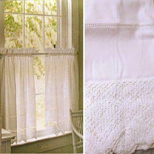 Martha One Pair Café Curtains White Crochet Trim Hemsch Tiers