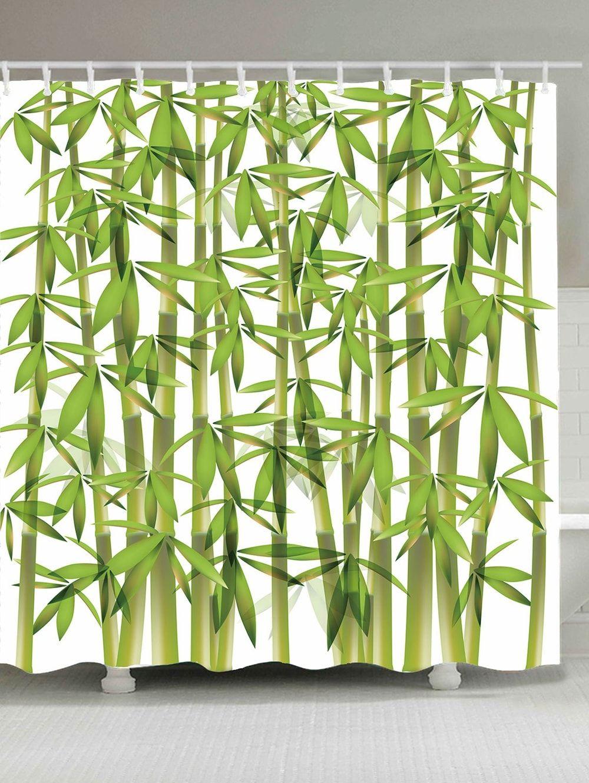 Waterproof Bamboo Print Shower Curtain Green W71 Inch L71