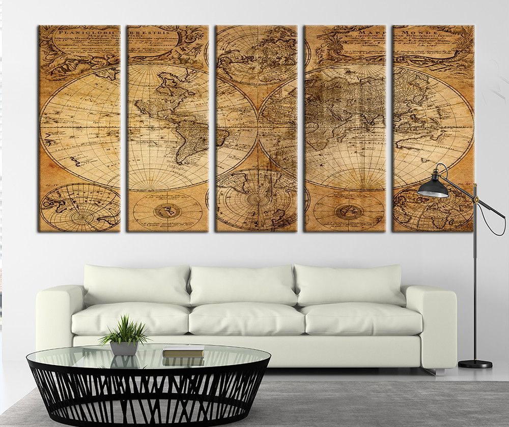 Ancient world map on old paper canvas art print world map canvas ancient world map on old paper canvas art print world map canvas art print no freerunsca Image collections