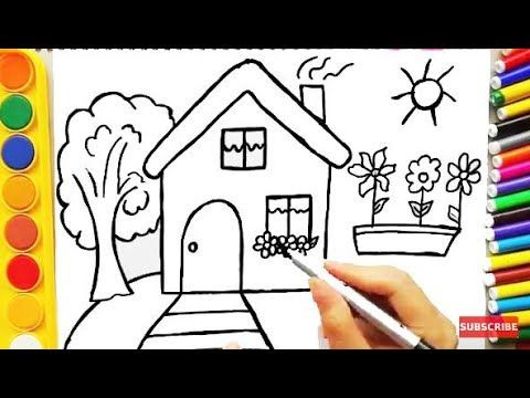Drawing House For Learning Colors And Coloring Pages A Dog For