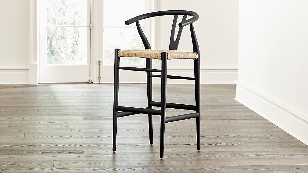 Pair Of Rush Seat Bar Stools In Lightly Distressed Cottage White Wood Bar Stools White Wood Bar Stools Timber Bar Stools