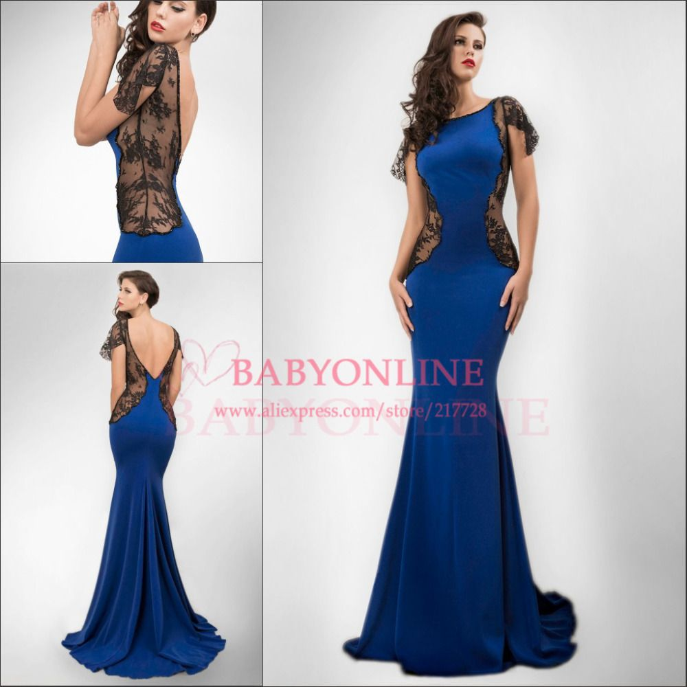 new arrival royal blue sexy open back long hot side see through
