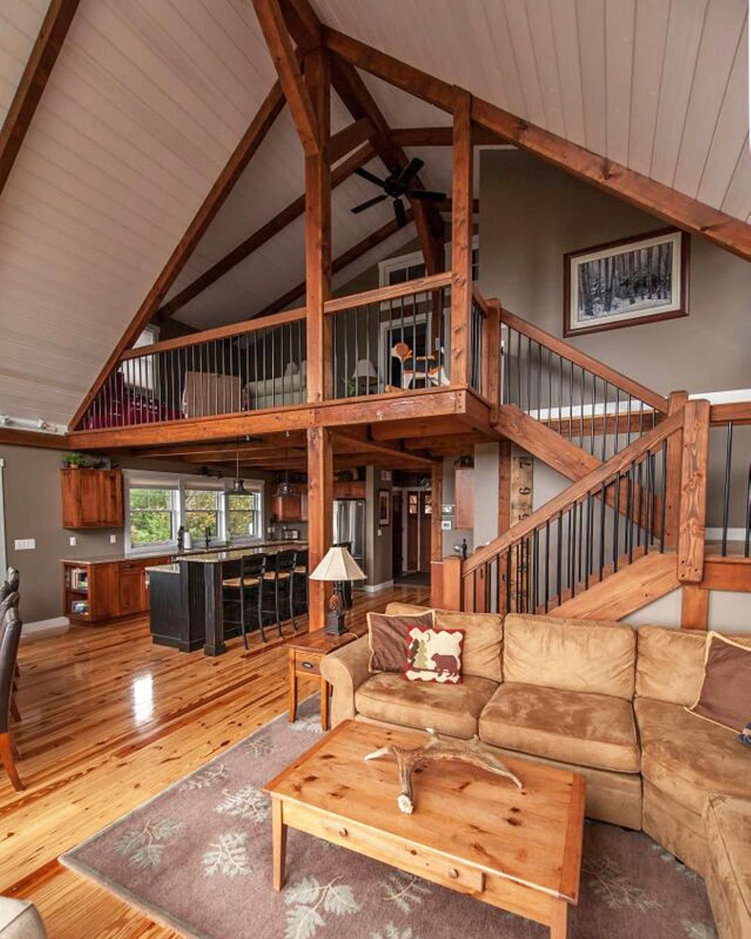 """Yankee Barn Homes on Instagram """"Moose Ridge Lodge is a small yes it is small post and beam mountain retreat Visit our bio for our website Search Moose Ridge lodge…"""""""