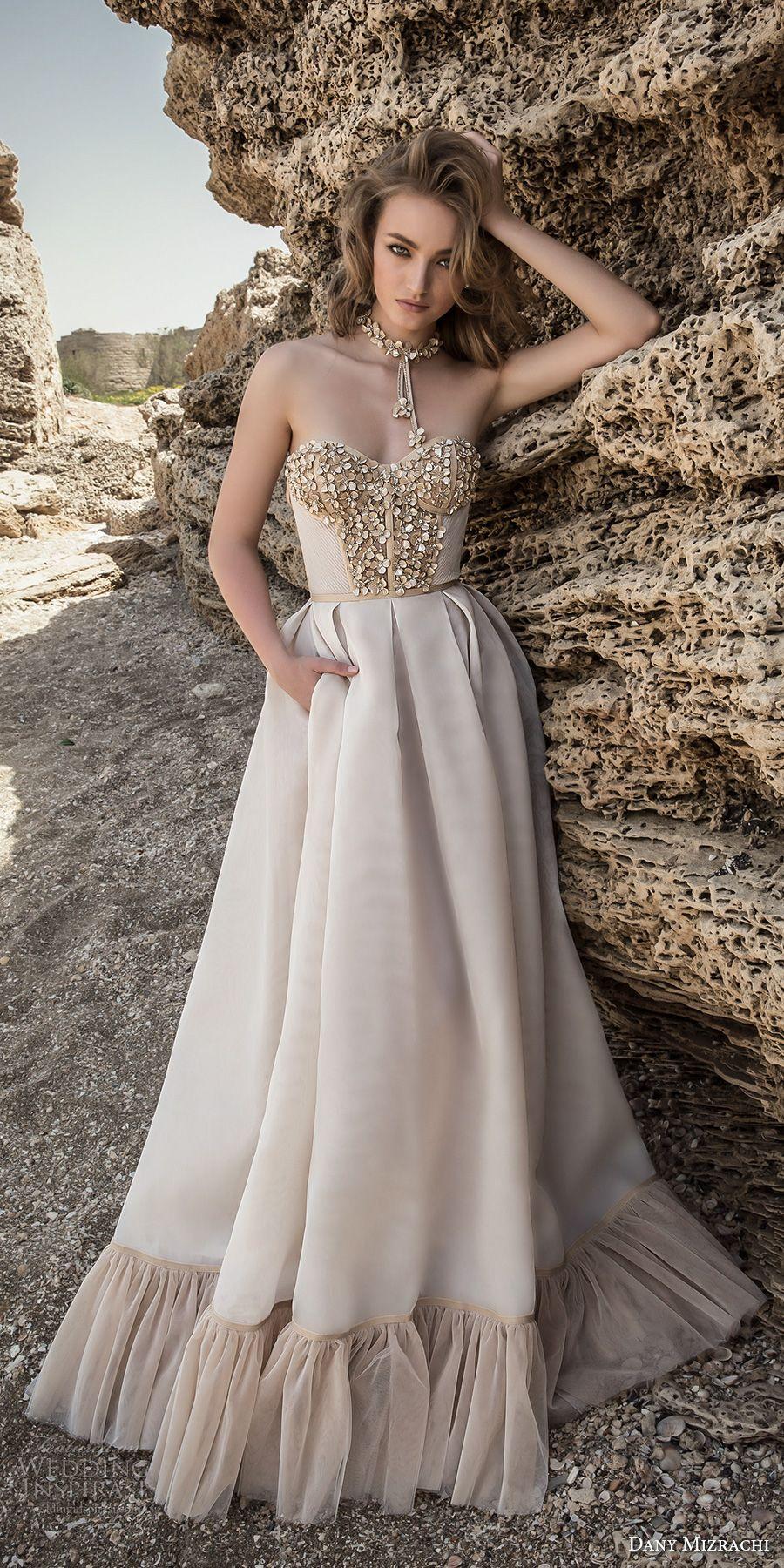 Champagne colored wedding dress  Dany Mizrachi  Wedding Dresses  Strapless sweetheart neckline