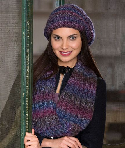 3e7cf25ee56 Slouchy Hat   Reversible Cable Cowl Free Knitting Pattern from red Heart  Yarns