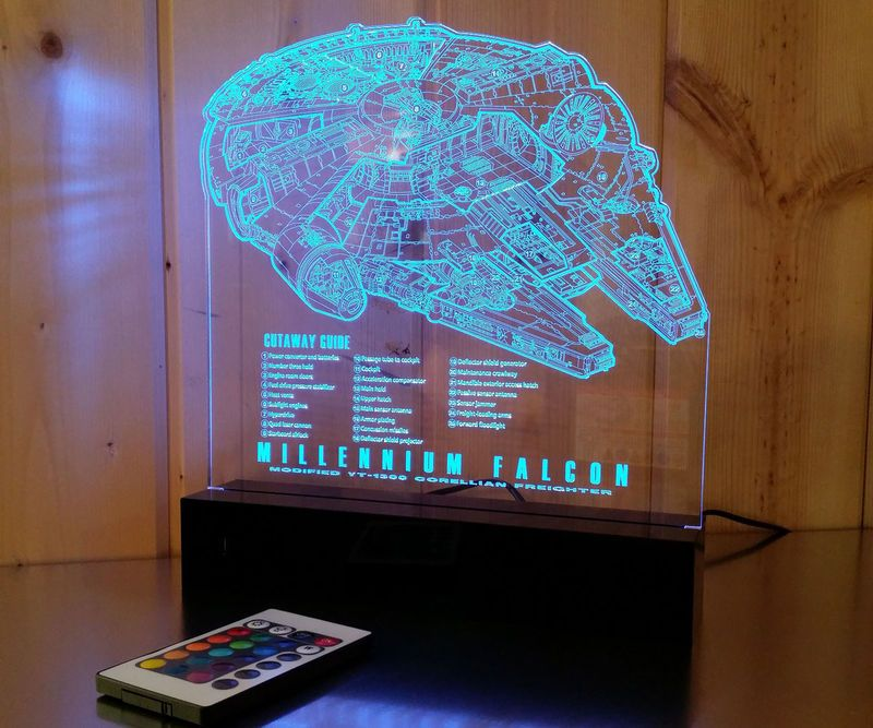 Marvelous Star Wars Lamp   This LED Star Wars Lamp Creatively Displays The Detailed  Blueprints Of The Famous Millennium Falcon Spaceship. This Pop Culture Desk  Lamp ...