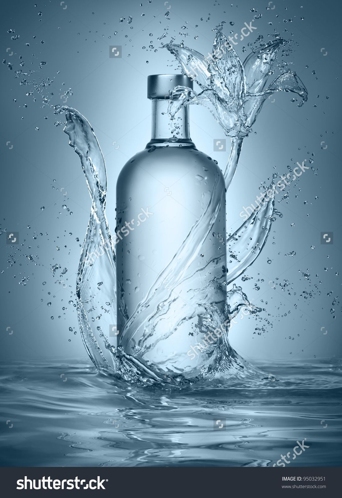 Flower made of water with vodka bottle stock photo 95032951 flower made of water with vodka bottle stock photo 95032951 biocorpaavc