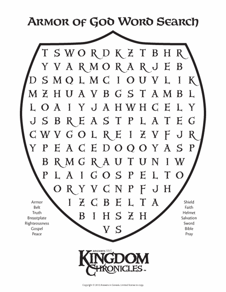 Armor of God Word Search C2 Eph 6 verses (With images