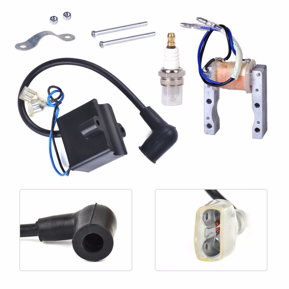 Motorcycle Ignition Coil+Magneto Stator+Spark Plug Fit for 49cc 50cc