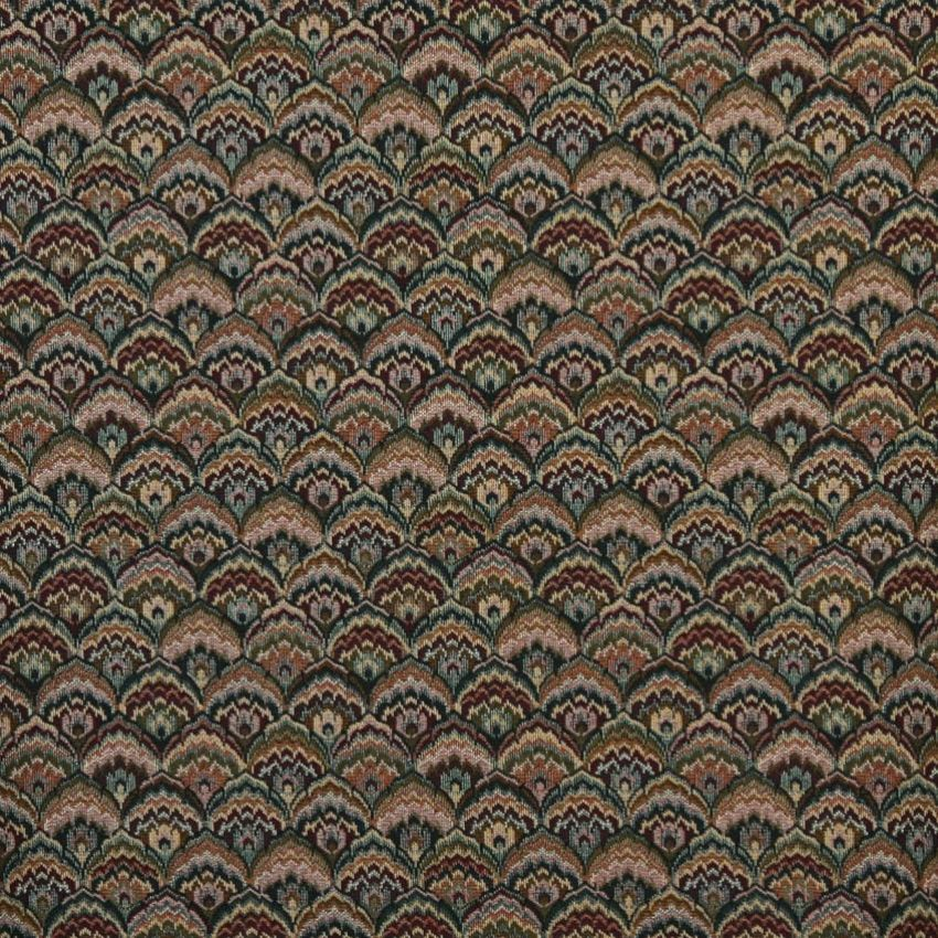Burgundy Yellow And Green Shell Small Scale Fan Tapestry Upholstery Fabric Upholstery Fabric Upholstry Fabric Upholstery