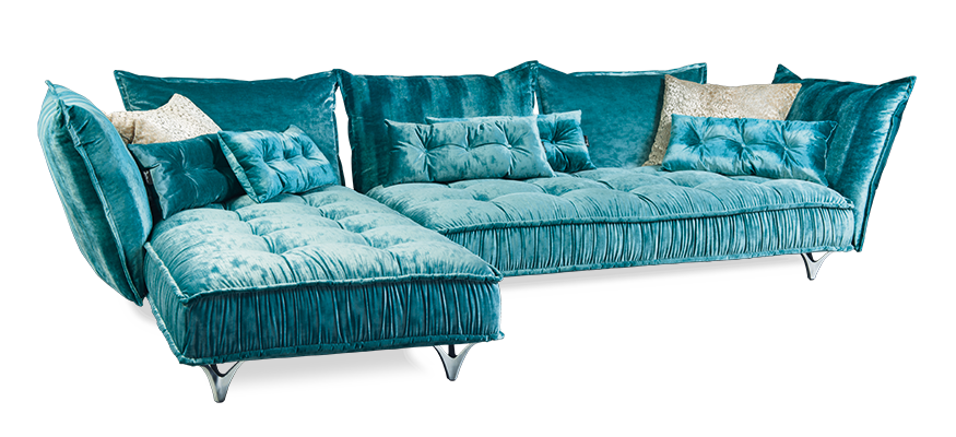 ohlinda lounge by bretz in blue velvet the ultimate cosy designer sofa made in germany. Black Bedroom Furniture Sets. Home Design Ideas