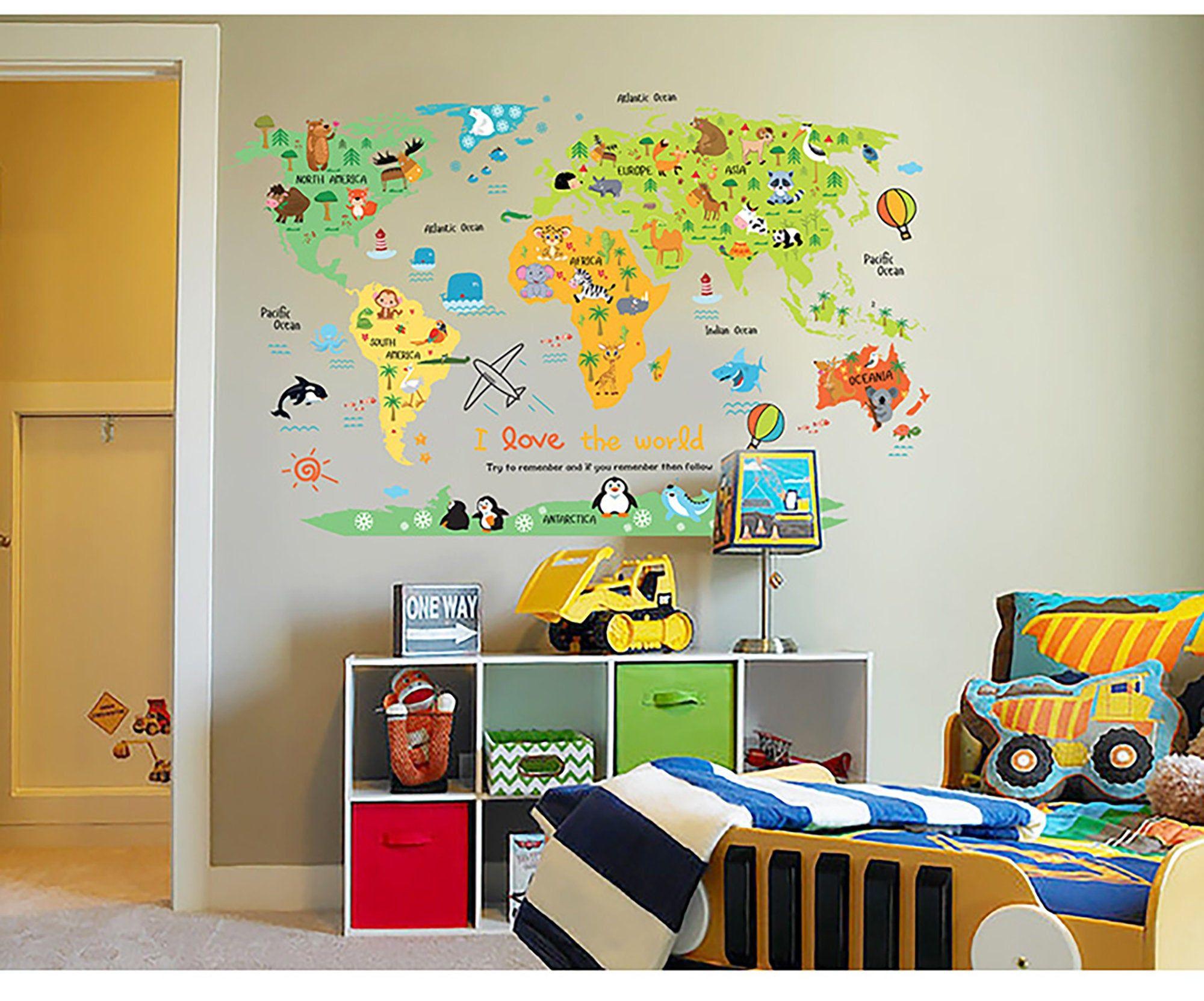 Cartoon Animal World Map Wall Sticker Children Bedroom Classroom