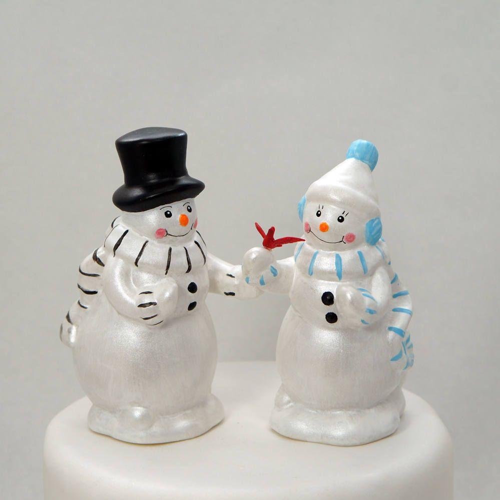 Snowman wedding cake topper, winter wedding cake topper, snowman and ...