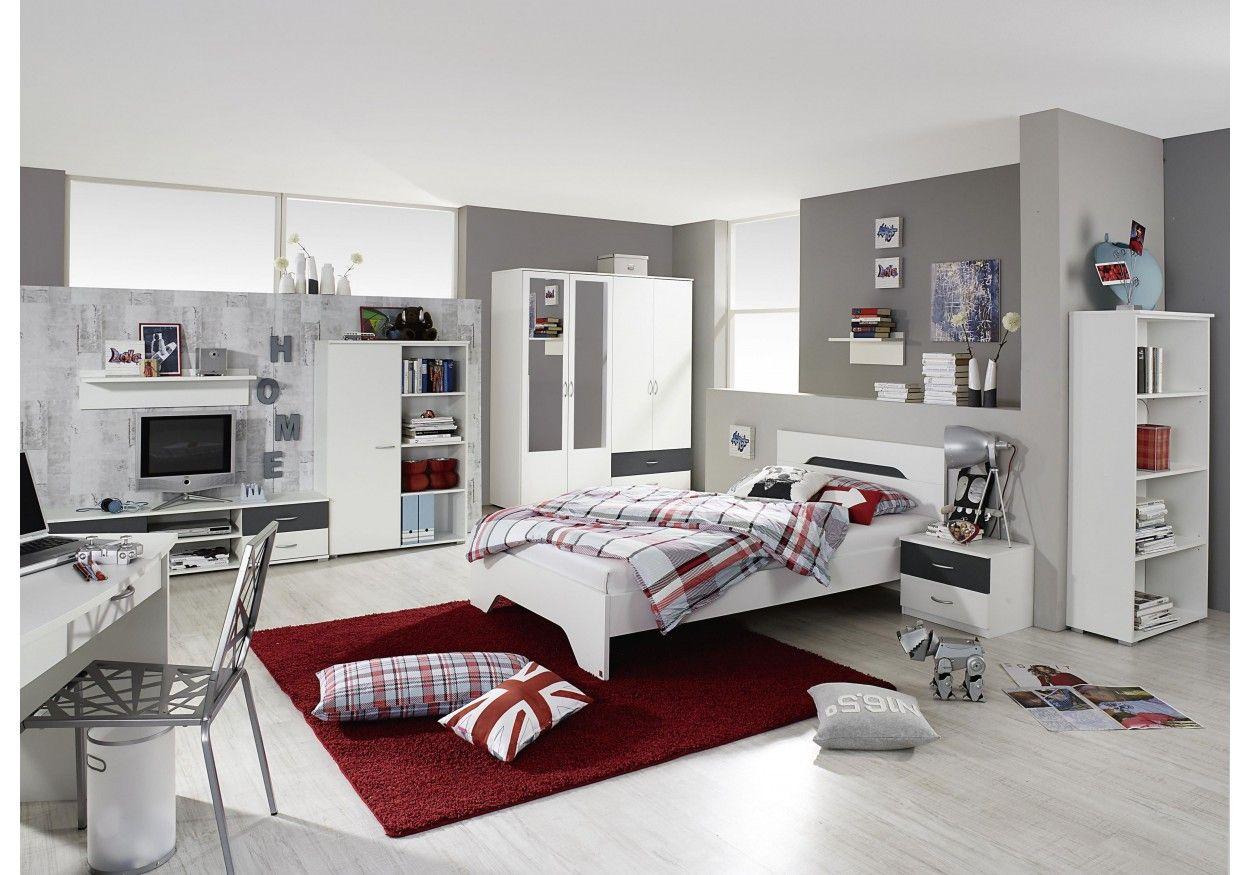 33 01260 Jugendzimmer Mit Bett 140 X 200 Cm Alpinweiss Grau Metallic Hochbett Mit Schreibtisch Jugendzimmer Loft Betten