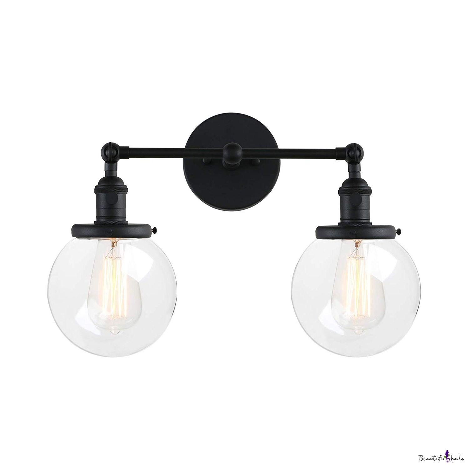 2 Lights Globe Shade Wall Light American Vintage Metal And Glass Sconce Light In Black Brass Vintage Bathroom Light Fixtures Vintage Bathroom Lighting Wall Sconce Lighting