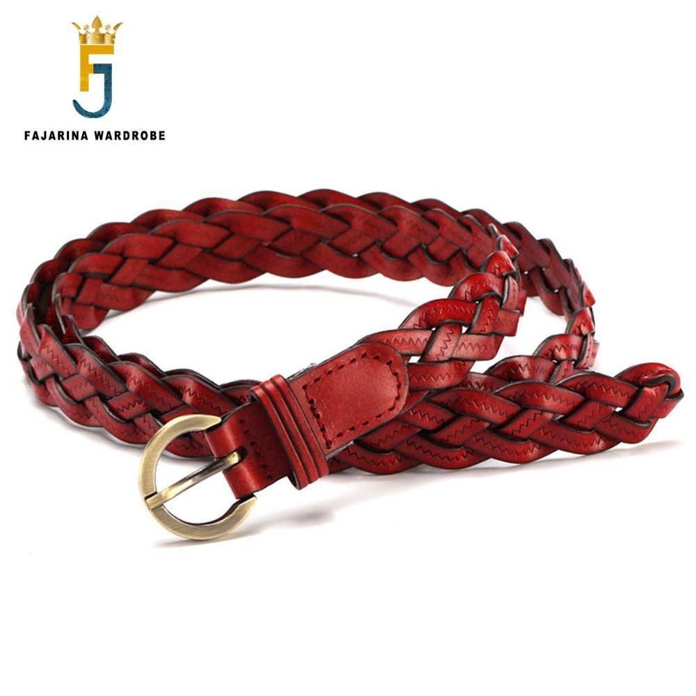 Ucuz Fajarina Kadin El Yapimi Orgu Inek Cilt Deri Bayanlar Ince Bel Kemeri Ince Kenevir Cicekler Inek Derisi Deri Kem Braided Leather Belt Braided Leather Belt
