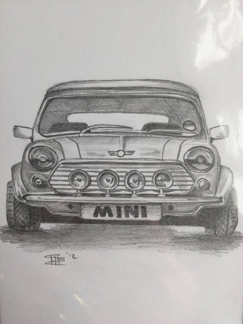 Mini Auto Bleistiftzeichnung Etsy In 2020 Pencil Drawings Drawings Car Drawing Easy