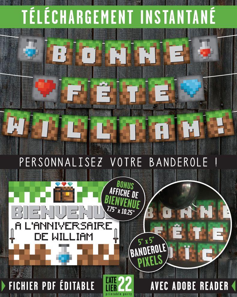 Banderole danniversaire pixels inspiration minecraft affiche de bienvenue