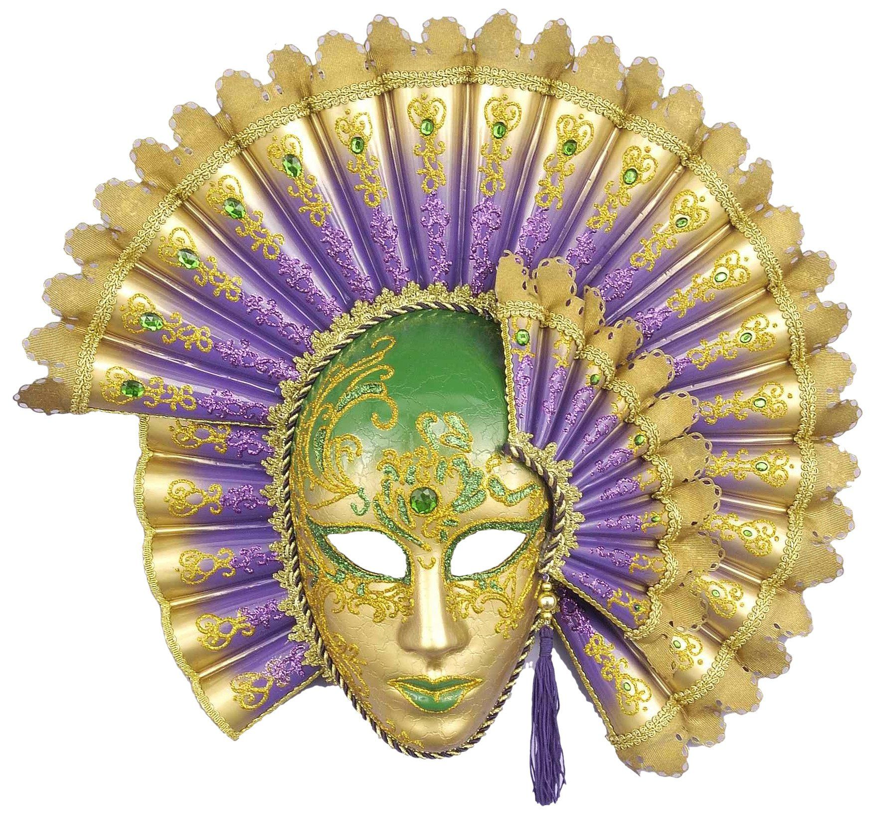Forum Deluxe Mardi Gras Best Full Face Mask, Green/Gold/Purple, One ...
