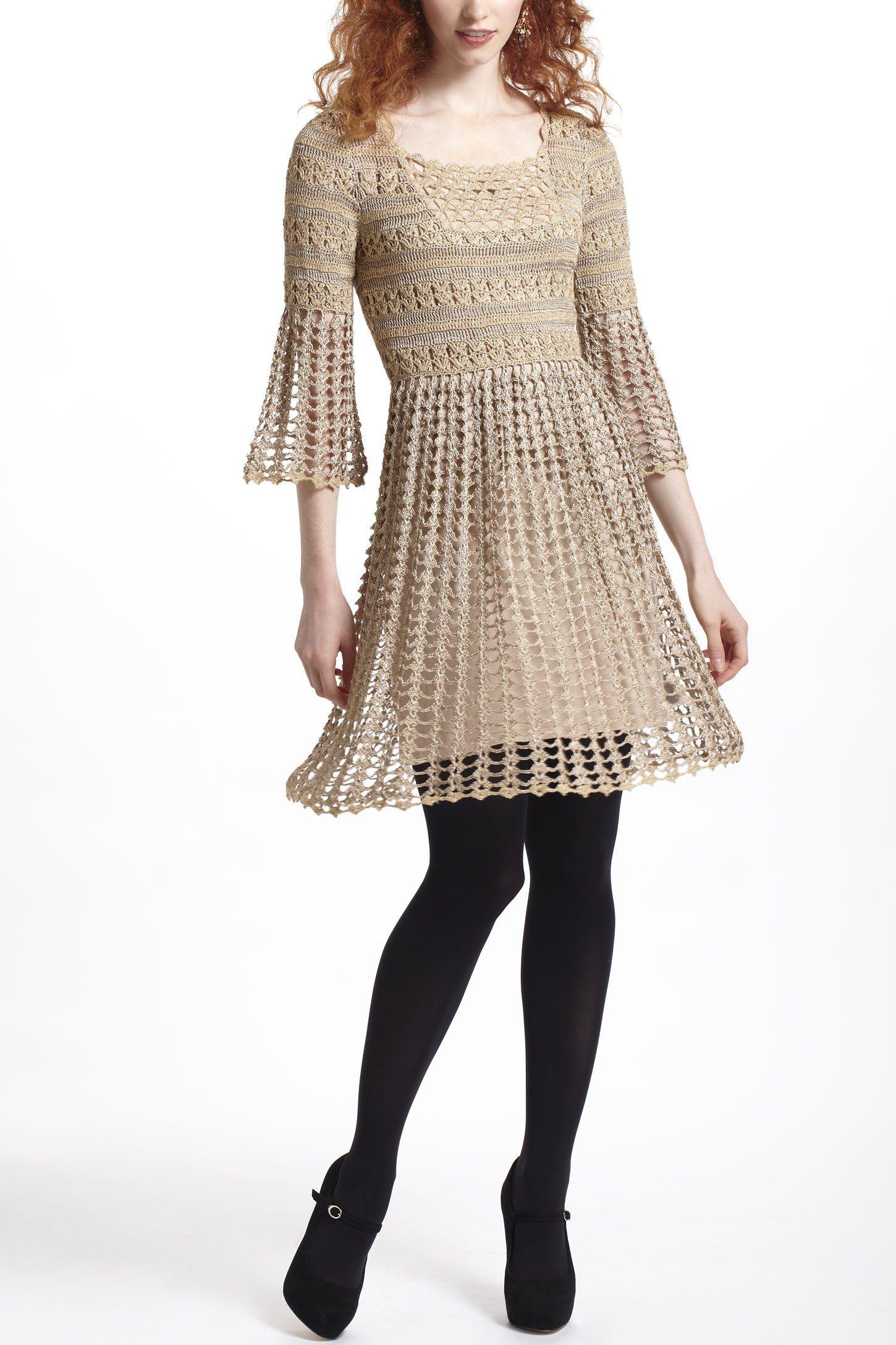 Shimmered Crochet Dress - Anthropologie.com