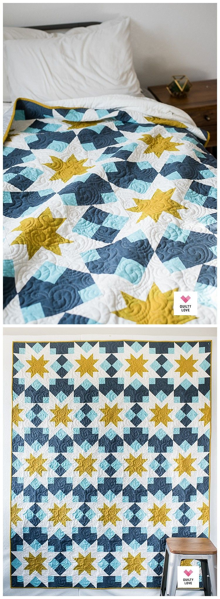 Night Stars Quilt - A bold star quilt pattern - Quilty Love #modernquiltingdesigns