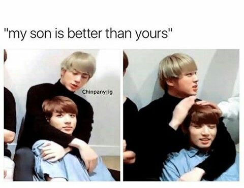 Mama Jin is always petting Kookie on his coconut head and it's the cutest thing