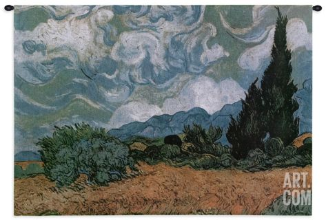 Wheatfield with Cypresses, c.1889 Tapestry Wall Hanging by Vincent van Gogh at Art.com